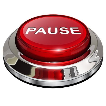 14771698 - pause button, 3d red glossy metallic icon