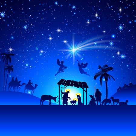 45356482 - high detail vector nativity christmas scene.